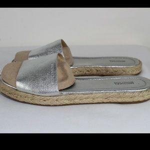 Michael Kors Silver Chrome Leather Slides